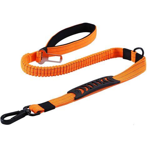 LITZEE Laisse pour Chien Solide avec Poignée Rembourrée Corde Anti-Traction Laisse de Dressage Élastique pour Moyens et Grands Chiens en Fort Tirage (110CM-150CM, Orange)