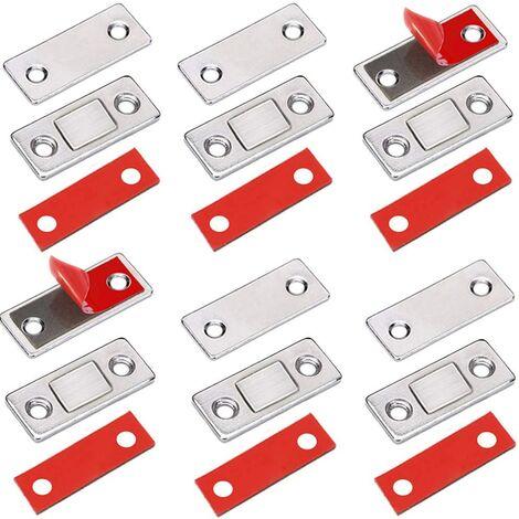 LITZEE Loqueteaux Magnétiques 6 Pièces Très Mince Aimant Pour Porte de Placard à Coller Loqueteau Aimant Fermeture Adhesif Meuble Aimant Puissant pour Porte Coulissante Tiroirs Fenetre Aimanté Armoire