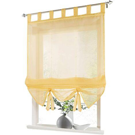 LITZEE Store romain à boucles rideaux Cuisine Stores romains Rideaux transparents à boucle aveugle Voile moderne jaune LxH 80x155cm 1 pièce