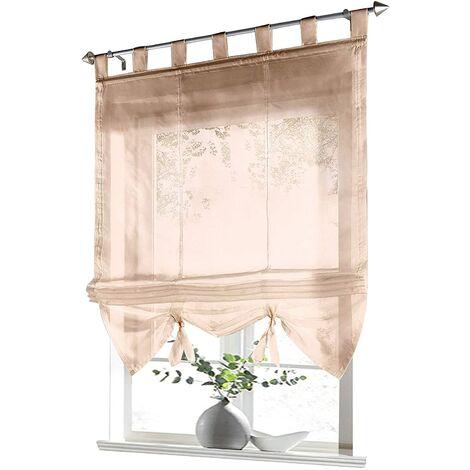 LITZEE Store romain à boucles rideaux Cuisine Stores romains Rideaux transparents à boucle aveugle Voile moderne le sable LxH 80x155cm 1 pièce