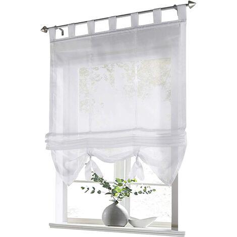 LITZEE Store romain avec boucles rideaux Cuisine stores romains Rideaux transparents à boucle aveugle Voile moderne blanc LxH 60x155cm 1 pièce