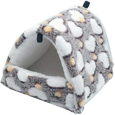 LITZEE Couchage Rongeur Peluche Petite Maison Hamster Hamac Jouet Lit Cabane pour Cochon d'Inde Lapin Chinchilla Furet, Marron L