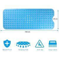 LITZEE Tapis de bain antidérapant avec 200 ventouses 100 x 40 cm - Bleu Transparent