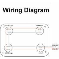 LITZEE 4 en 1 Panneau de Prise de Chargeur, 12V 4.2A Double Prise de Chargeur USB Prise de Courant & Voltmètre à LED - bleu