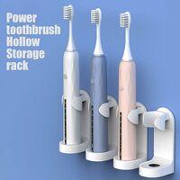 LITZEE Porte-brosses à dents électriques, support de brosse à dents à puissance optimale creuse, sans ongles, avec de la gomme à coller, anti-sale et humide (2 PC)