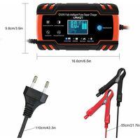 LITZEE Chargeur de batterie de voiture, chargeur de batterie de voiture 8A 12V / 24V, chargeur de batterie de voiture entièrement automatique avec écran LCD Chargeur de batterie, chargeur de maintien avec protection multiple (# 1)
