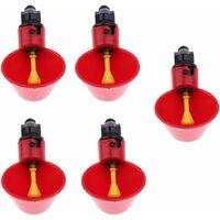LITZEE Abreuvoir à Poule Automatique Tasses d'eau Potable Rouge Abreuvoir Poules Bien Pratique en Plastique pour Oiseaux Poule Volaille - 5PCS