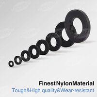 LITZEE Joint en nylon, rondelle d'entretoise ronde de rondelle plate noire de 500PCS compatible avec M2 M2.5 M3 M4 M5 M6 M8 M10