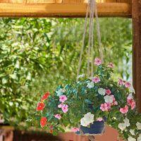 LITZEE Lot de 6 Pots de Fleurs en macramé en Coton pour décoration Murale