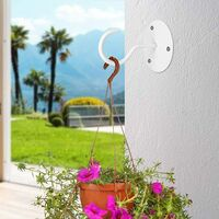 LITZEE Crochet Plafond 4 Pièces Métal Mur Plante Crochet Swag Cintres de Plafond avec Vis et Ancres pour Suspendre Paniers à Plantes Lanternes Carillons Éoliens Décorations Extérieur (Blanc)