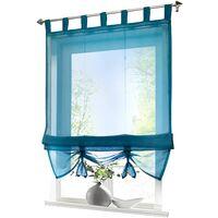 LITZEE Store romain avec boucles rideaux Cuisine stores romains Rideaux transparents à boucle aveugle Voile moderne bleu LxH 60x155cm 1 pièce