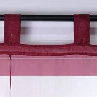 LITZEE Store romain à boucles rideaux Cuisine Stores romains Rideaux transparents à boucle aveugle Voile moderne Vin rouge LxH 80x155cm 1 pièce