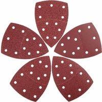 Jeu de feuilles abrasives triangles de ponçage 25 pièces, 105 x 152 mm│11 trous│ chaque grain 5 x 40/60/80/120/240 pour ponceuse multiple