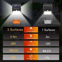 Lampes solaires LITZEE pour extérieur avec détecteur de mouvement, ,haute qualité 100LED-1000Lumen】 lumière solaire extérieure 2200mAh applique murale étanche solaire Led détecteur de mouvement solaire extérieur lumière solaire pour jardin-4 pièces