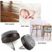 LITZEE 50x Patins à vis en feutre - Patins coulissants Hauteur 9 mm, Patins à vis pour la protection du sol des chaises et des meubles - Patins de meuble - Diamètre rond 24 mm