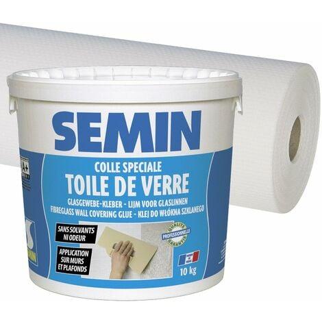 Colle pour toiles de verre en pâte Semin - seau 5 kg et toile de verre pour murs et plafonds Sem Toile Eco T 023 - motif maille - 50 m x 1 m