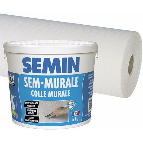 Colle en pâte pour toiles de verre Semin - prête à l'emploi - seau de 10 kg et toile de verre Sem Toile Eco T 023 - motif maille - 50 m x 1 m