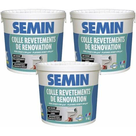 Lot de 3 colles pour revêtements de rénovation lisse en pâte Semin - prête à l'emploi - seau de 5 kg