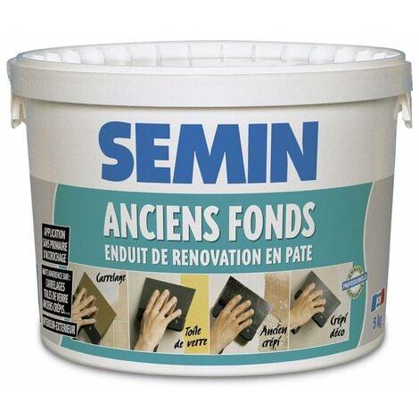 Enduit de rénovation pour les supports irréguliers Anciens Fonds Semin - spécial toile de verre, carrelage, peinture - intérieur/extérieur - seau de 5 kg