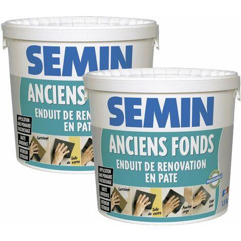 Lot de 2 enduits de rénovation pour les supports irréguliers Anciens Fonds Semin - spécial toile de verre, carrelage, peinture - intérieur/extérieur - seau de 1,5 kg