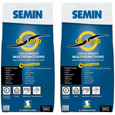Lot de 2 enduits multifonctions CE 3000 Semin - pour coller, fixer, reboucher, aplanir, lisser et décorer - intérieur - sac de 5 kg