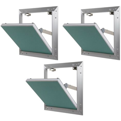 Lot de 3 trappes de visite alu hydro Semin - 200 mm x 200 mm x 12.5 mm - ouverture poussez/lâchez - pièces humides - accès aux gaines techniques et conduites - murs et plafonds