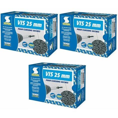 Lot de 3 x 1000 vis auto perceuse Semin pour la fixation des plaques de plâtre sur l'ossature - intérieur - 25 mm x 3.5 mm
