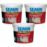 Lot de 3 colles papiers peints en pâte Semin Pro XXL - prêt à l'emploi - pot de 5 kg