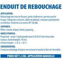 Enduit de rebouchage et lissage en poudre Reboucheur Semin - séchage rapide - intérieur - sac de 1,5 kg