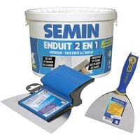 Enduit 2 en 1 Multifonctions Semin - joint et lissage plaque de plâtre - seau de 7 kg, un couteau à enduire - 15 cm et une lame CE 78 pour enduire et lisser - 15 cm