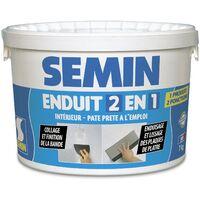 Lot de 2 enduits 2 en 1 Multifonctions Semin - joint et lissage plaque de plâtre - seau de 7 kg, un couteau à enduire - 15 cm et une lame CE 78 pour enduire et lisser - 15 cm