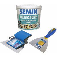 Enduit de rénovation pour les supports irréguliers Anciens Fonds Semin - intérieur/extérieur - seau de 1,5 kg, un couteau à enduire - 15 cm et une lame CE 78 pour enduire et lisser - 15 cm