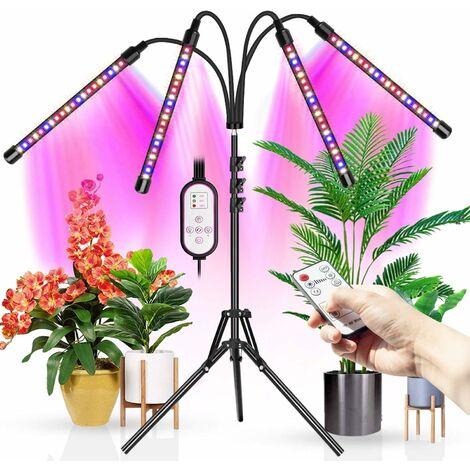 4 lampes de culture à LED, avec trépied, adaptées aux plantes d'intérieur, 80 lampes de sol à spectre complet à LED, avec deux contrôleurs, minuterie 4/8 / 12H (trépied réglable de 11 à 63 pouces)