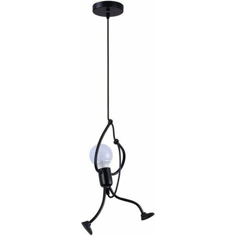E27 Lustre en fer lampe design dessin animé créatif lustre de la chambre des enfants (noir