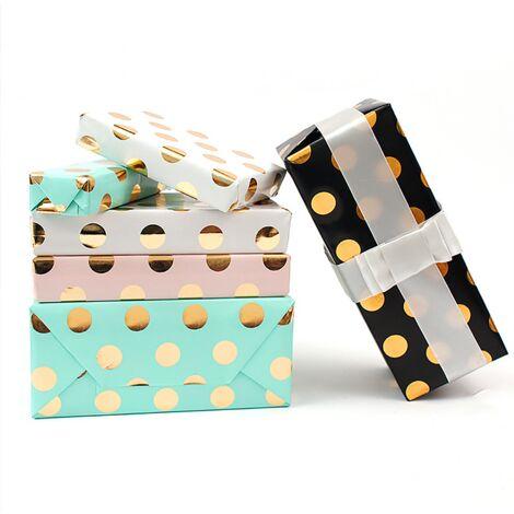 Emballage cadeau, papier d'emballage cadeau de Noël, 10 pièces de 50 * 70cm (noir * 2 + rose * 2 + blanc * 2 + bleu * 2 + vert * 2)
