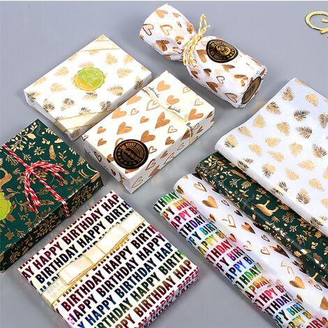 Emballage cadeau, papier d'emballage cadeau de Noël, 12 pièces de 50 * 70 cm (amour * 3 + vert * 3 + coloré * 3 + feuille * 3)