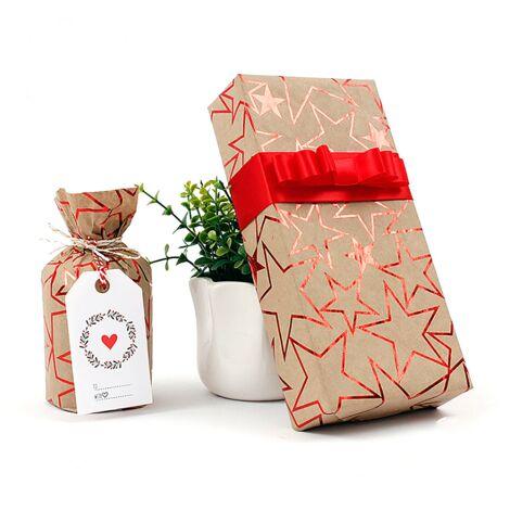 Emballage cadeau, papier d'emballage cadeau de Noël, 8 pièces de 50 * 70cm (or * 2 + violet * 2 + argent * 2 + rouge * 2)