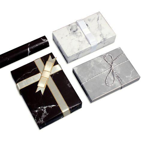 Emballage cadeau, papier d'emballage cadeau de Noël, 12 pièces de 50 * 70 cm (noir * 4 + blanc * 4 + gris * 4)