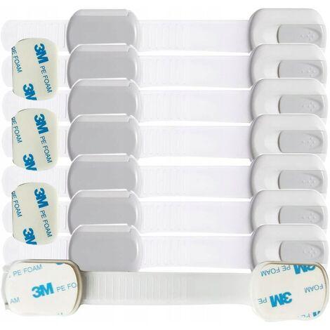 Sécurité enfants Verrou de sécurité pour bébé pour serrure d'armoire Vis supplémentaires de porte d'armoire à tiroir sans colle 3M (8 paquets de serrures d'armoire de sécurité pour enfants)