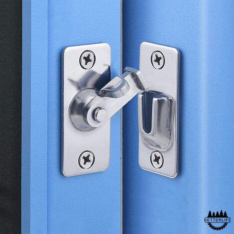 Loquet de serrure de porte à 90 degrés, loquet de verrouillage à angle de sécurité en acier inoxydable pour porte coulissante / poussoir, nickel satiné