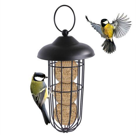 Mangeoire Oiseau Distributeur De Nourriture pour Oiseaux, Distributeur De Nourriture pour Oiseaux, Couvercle Écologique en Fer, Mangeoire Écologique pour Oiseaux Sauvages en PVC