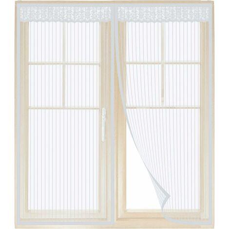 Moustiquaire Fenêtre Magnétique Blanche de 130 * 150CM Rideau de Moustiquaire Aimant avec Bande Collante et Punaises pour Fenêtre Empêche de Passer Les Moustiques et Autres Bestioles en ETE