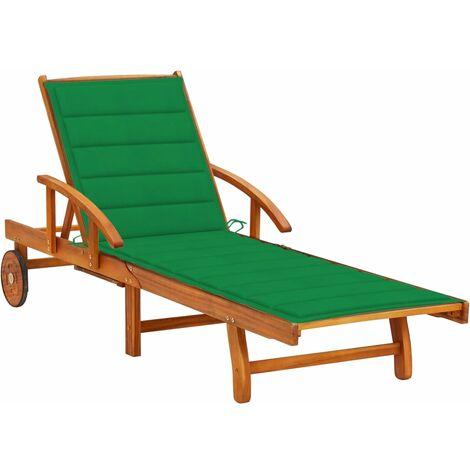 Chaise longue de jardin avec coussin Bois d'acacia solide4647-A
