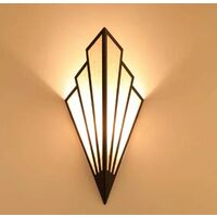 Applique murale à LED, lampe d'escalier couloir couloir lampe de chevet de style européen chambre d'hôtel lampe de chevet intérieure créative en forme d'éventail noir(2pcs)