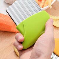 Betterlife Coupe de pommes de terre en acier inoxydable Coupe-légumes multifonction Frites ondulées Outil de cuisine de coupe (vert
