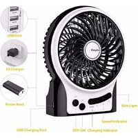 Mini Ventilateur de Table,USB Ventilateur Bureau Personnel Portable Batterie Rechargeable Silencieux 2600mAh 3 Vitesses Puissant Vent pour Cuisine Maison Voyage Pique-Nique-noir