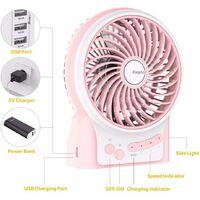 Mini Ventilateur de Table,USB Ventilateur Bureau Personnel Portable Batterie Rechargeable Silencieux 2600mAh 3 Vitesses Puissant Vent pour Cuisine Maison Voyage Pique-Nique-Rose