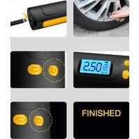 Mini Compresseur d'air Portable Auto Gonfleur Pneus Voiture Compresseur à Air Électrique Rechargeable Multifonctionnel avec Écran LCD Affichage Digital Lampe LED Câble USB(Noir pur)