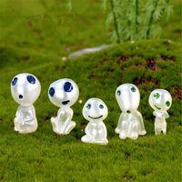 Mini décoration de jardin - figurines du dessin animé Princesse Mononoke « Elfes des arbres » lumineuses, décoration micro-paysage en résine pour maison de poupée,10 pièces