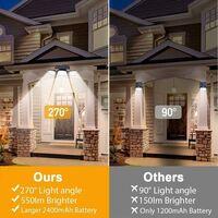 Lampe Solaire Extérieur,(pack de 2) 74 LED, étanche IP65, éclairage grand angle 360 °, lumière solaire avec détecteur de mouvement, pour jardin, entrée